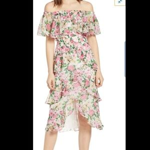 WayF IVORY PINK ROSE  Floral Tieref Midi Dress